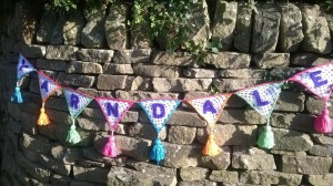 crocheted bunting with Yarndale sewn on to it